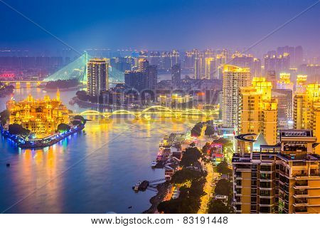 Fuzhou, China cityscape on the Min River.