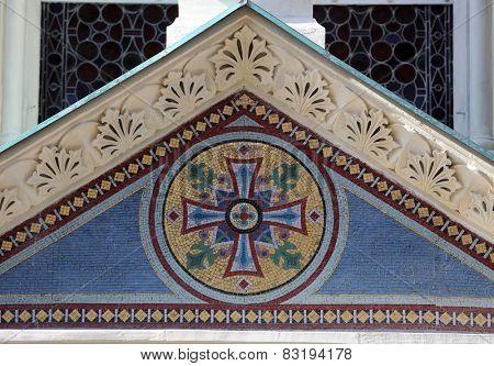 ZAGREB, CROATIA - OCTOBER 18, 2013: Cross, Greek Catholic Church of Saints Cyril and Methodius (circa 1880) in Cirilometodska street of historic Upper Town in Zagreb, Croatia. Architect Hermann Bolle