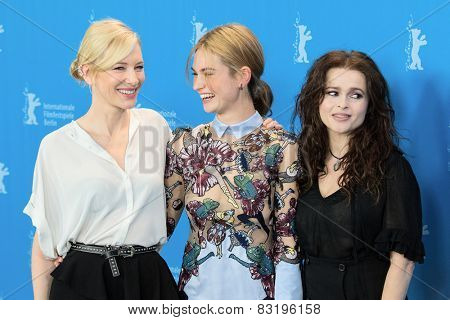BERLIN, GERMANY - FEBRUARY 13: H. B. Carter, L. James, C. Blanchett  'Cinderella' photocall. 65th Berlinale International Film Festival at Hyatt Hotel on February 13, 2015 in Berlin, Germany