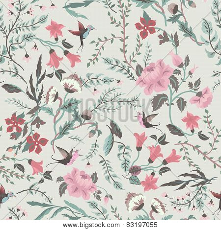Seamless Fairy Floral Pattern