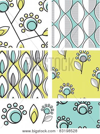 Modern floral seamless patterns. Use as fills, digital paper, or print off onto fabric to create unique items.