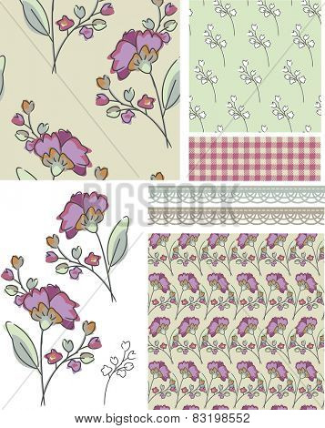 Seamless Floral Rose Patterns.  Use as pattern fills to create stunning items for art and craft projects.