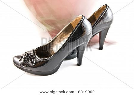black shoes and shawl on white background