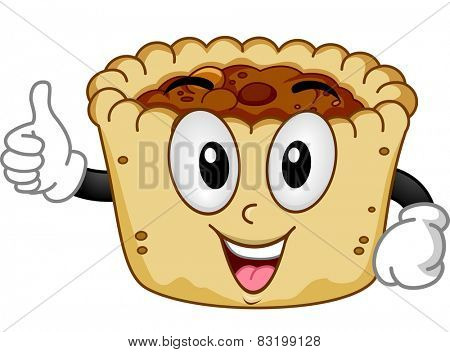 Mascot Illustration of a Butter Tart Giving a Thumbs Up