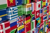 Big pile of cubes containing international flags poster