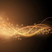 Bright solar orange swoosh speed wave modern glittering background in orange color. Vector illustration poster