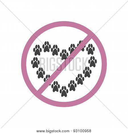Grey colored paw prints in the shape of heart inside pink colored prohibition sign isolated on white background. Special sign for places where pets are prohibited. Logo template design element poster