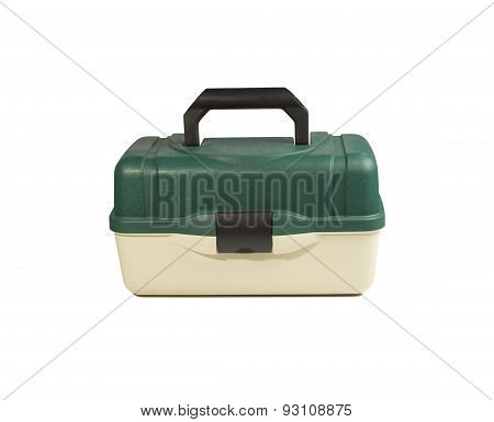 Green Plastic Box For Fishing Tackle On An Isolated White Background