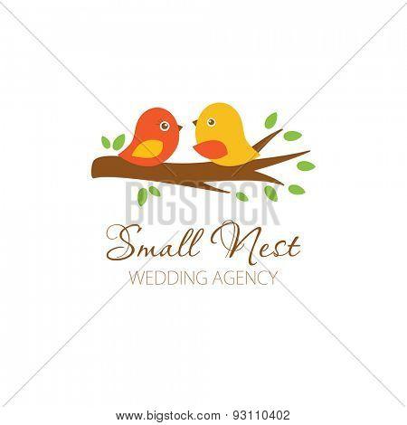 Cute logowith birds couple on the tree. Logo for wedding photographer, planner, blog, restaurante. Cute logo with birds.