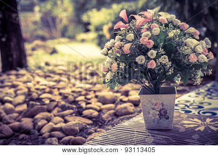 Beautiful Bouquet Of Artificial Flowers In A Ceramic Vase On Park Background, Vintage Style
