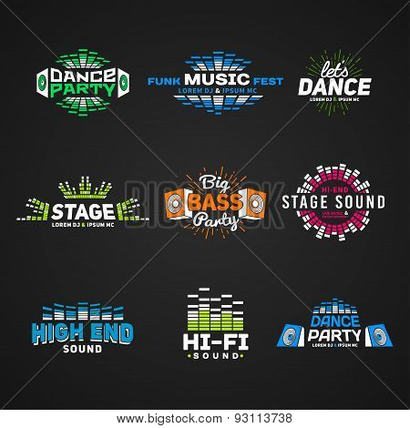 Sixth set music equalizer emblem vector on dark background. Modern colorful logo collection. Sound s