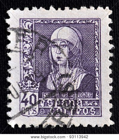 SPAIN - CIRCA 1938: The stamp printed in Spain showing image of Isabella I of Castile, the historic Queen of Castile and Leon; value  40 cts; circa 1938