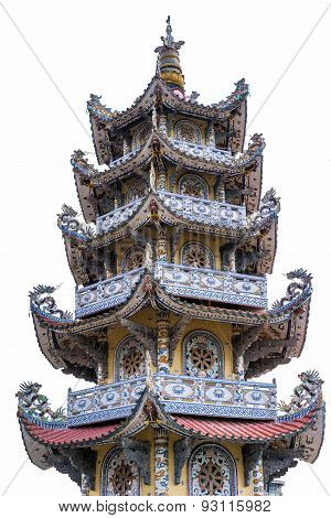 Buddhist Temple Isolated On White Background