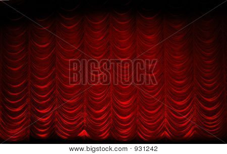 a shot of a red swag theatre curtain poster