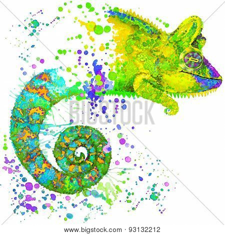 Chameleon illustration with splash watercolor textured background