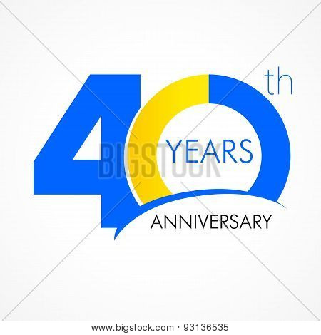 40 years old celebrating classic logo. Colored happy anniversary 40 th template numbers. Greetings celebrates. Traditional framed digits of ages. Special prize, % off, O or 0. Card's or label's idea.