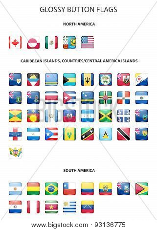 Set of glossy button flags -  North AND South America, Caribbean Islands, countries, Central America