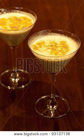 Wine Cocktail Drinks With Dark Wooden Background