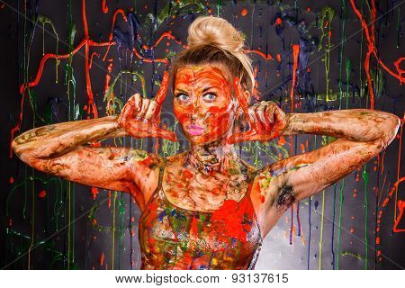 Beautiful Young Woman Covered With Paints