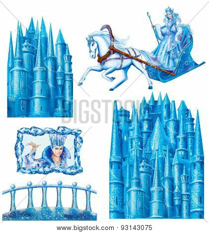 Set cartoon  house  for fairy tale Snow Queen written by Andersen