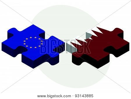 European Union and Qatar Flags in puzzle isolated on white background poster