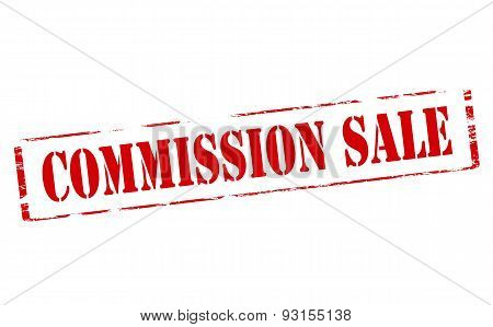 Rubber stamp with text commission sale inside vector illustration