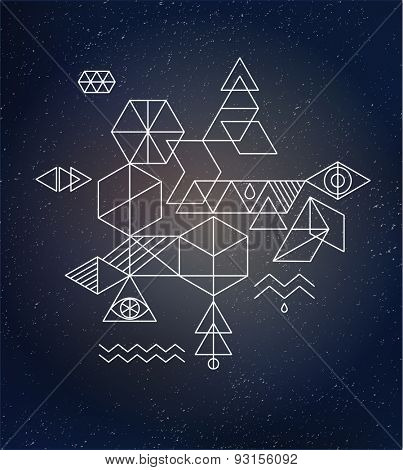 Sacred geometry. Alchemy, spirituality, hipster symbols and background poster