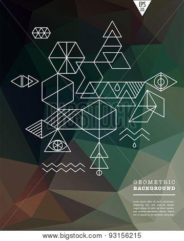 Sacred geometry. Alchemy, spirituality, hipster symbols and background