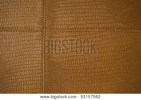 brown leather stitched together in pattern