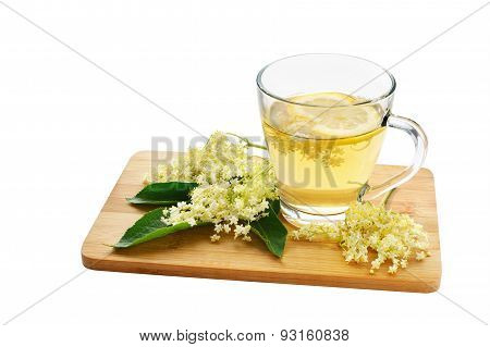 Elderflower Tea And Blossoms Isolated