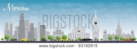Moscow skyline with grey buildings and blue sky. Vector illustration