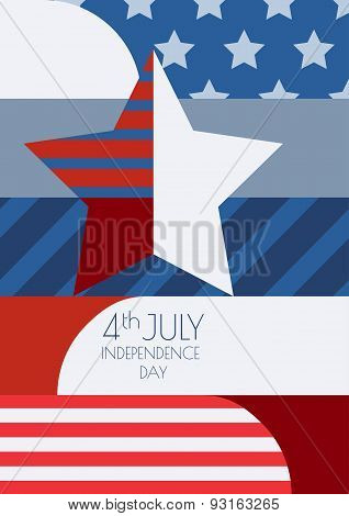 Happy 4Th Of July, Usa Independence Day, Vector Greeting Card. Multicolor Star And Flag, Creative Co