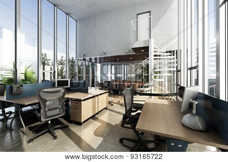 Open interior furnished modern office with large ceilings and windows