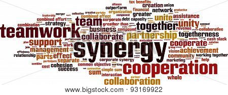 Synergy word cloud concept. Vector illustration on white poster