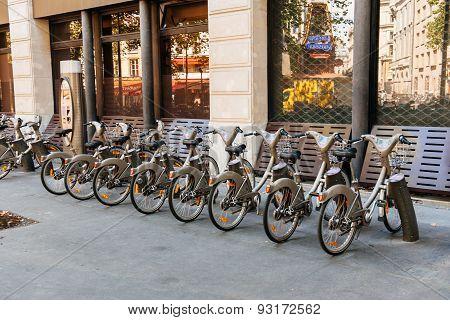 Velib Bike Sharing Station In Paris, France