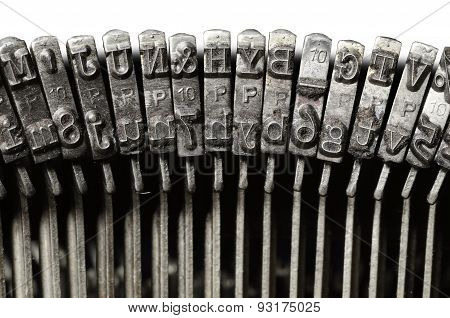 Closeup Of Vintage Typewriter Letter & Symbol Keys