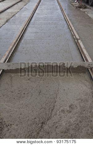 Wet Cement On Railway Track
