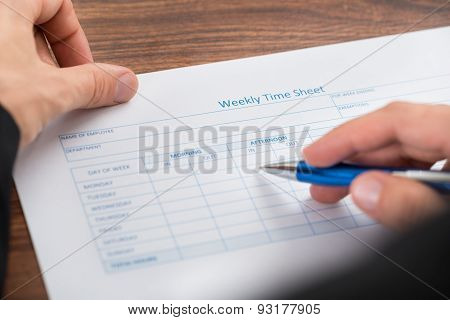 Person's Hand Filling Blank Weekly Time Sheet