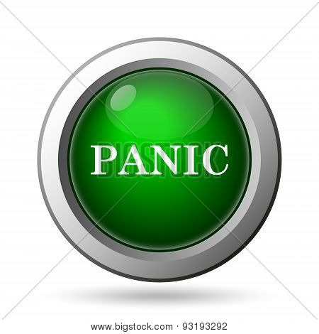 Panic icon. Internet button on white background poster