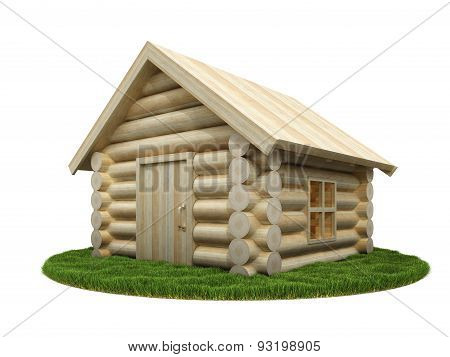 Wooden Small House On Green Meadow