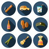 Set of flat colorful icons with shadows on Cuba theme with rum, coctail Cuba Libre, old car, sugar cane, coffee, guitar, cigar, national woman's dress and famous hat of Che for your cuban design poster