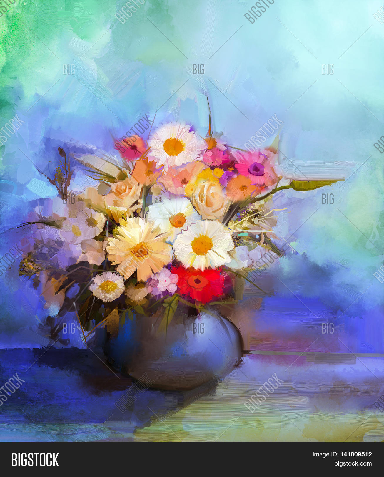 Oil painting flowers image photo free trial bigstock oil painting flowers in vase hand paint still life bouquet of white yellow and izmirmasajfo