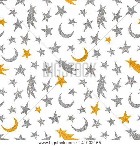 Gold and silver textured cosmic seamless pattern of the star, moon and comet on white background.