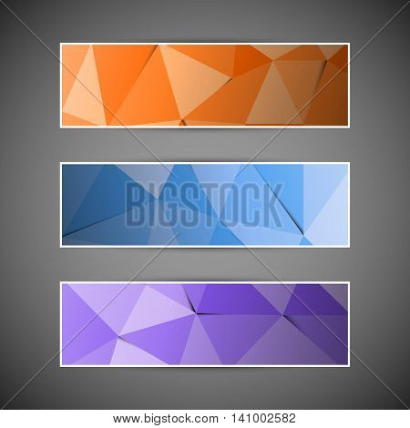 Set of colorful abstract triangular polygonal banners, stock vector
