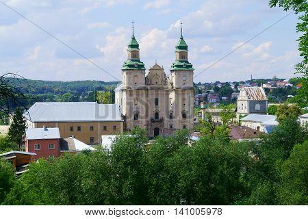 View to Bernardine monastery from castle hill in Zbarazh West Ukraine.