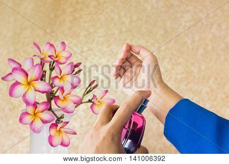 Business Women Hands Spraying Or Applying Or Wearing Perfume