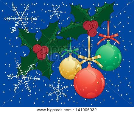 an illustration of a seasonal greeting card with absract holly baubles and snowflakes on a dark blue background