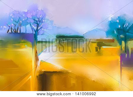 Abstract oil painting background. Colorful yellow and purple sky. Oil painting landscape on canvas. Semi- abstract tree hill and field meadow. Sunset landscape oil painting nature background