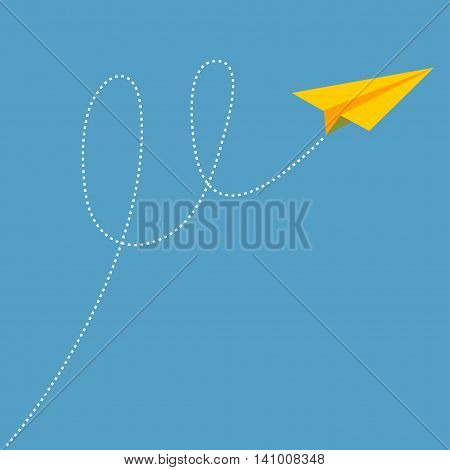 Yellow origami paper plane dash line track with loop in the sky. Flat design. Blue background. Vector illustration.