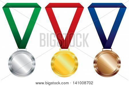 Three award medals on white background. Gold and silver with bronze medals vector design.